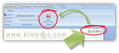 Gambar:  Contoh penghapusan tanggal dan jam pada  handout master powerpoint