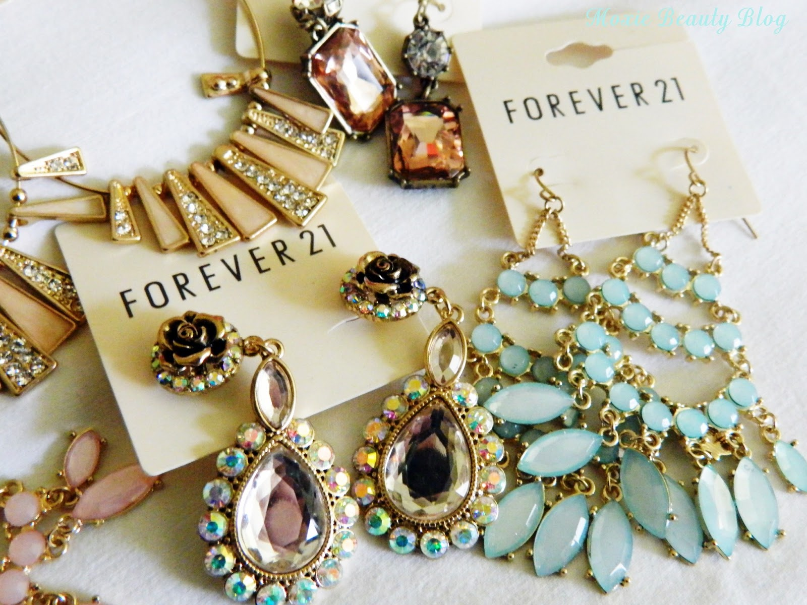 Forever 21 spring earrings haul golds pinks mints peach for Forever 21 jewelry earrings