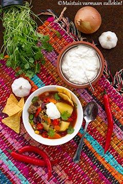 Meksikolainen jauhelihakeitto