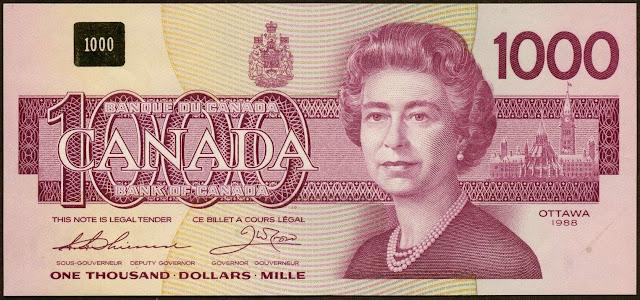 Canadian Banknotes 1000 Dollars banknote 1988 Her Majesty Queen Elizabeth II, Queen of Canada