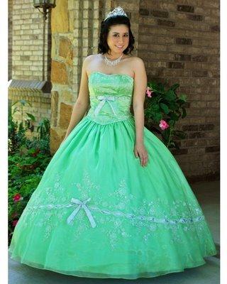 Vestido de 15 años verde menta para quinceañera