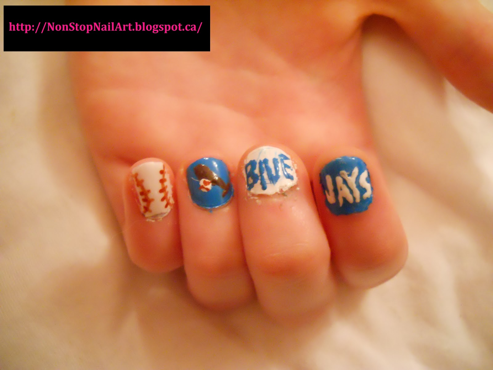Nail Art Blue Jays Non Stop Jay Nails