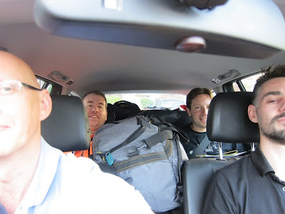 Simon, Rob and Paul cram in the car for the return trip