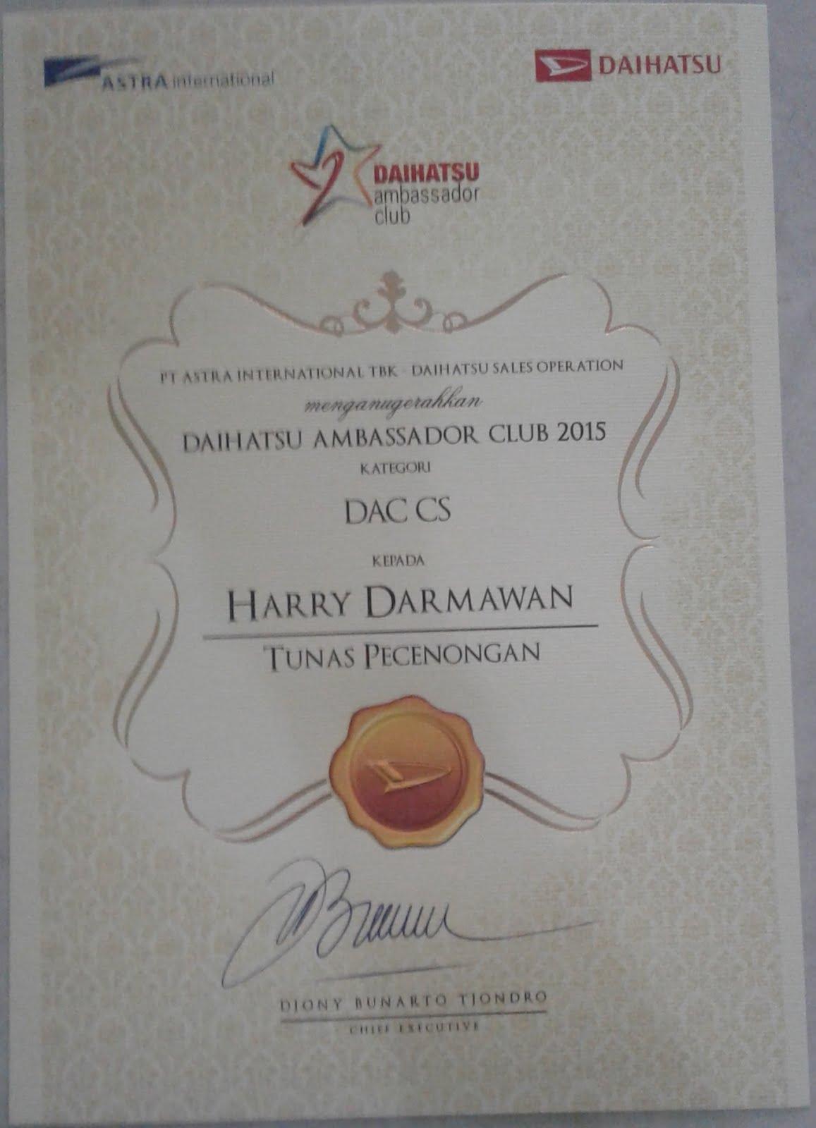 PENGHARGAAN DAIHATSU AMBASSADOR CLUB ( DAC ) 2015