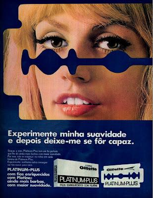 """propaganda lâmina de barbear Platinum Plus -  Gillette - """"deixe-me se for capaz"""" 1970"""