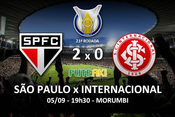 Veja o resumo da partida com os gols e os melhores momentos de São Paulo 2x0 Internacional pela 23ª rodada do Brasileirão 2015.