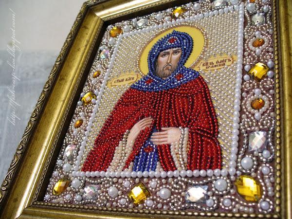 Икона, вышитая бисером - Святой Благоверный Князь Олег - Ручная работа