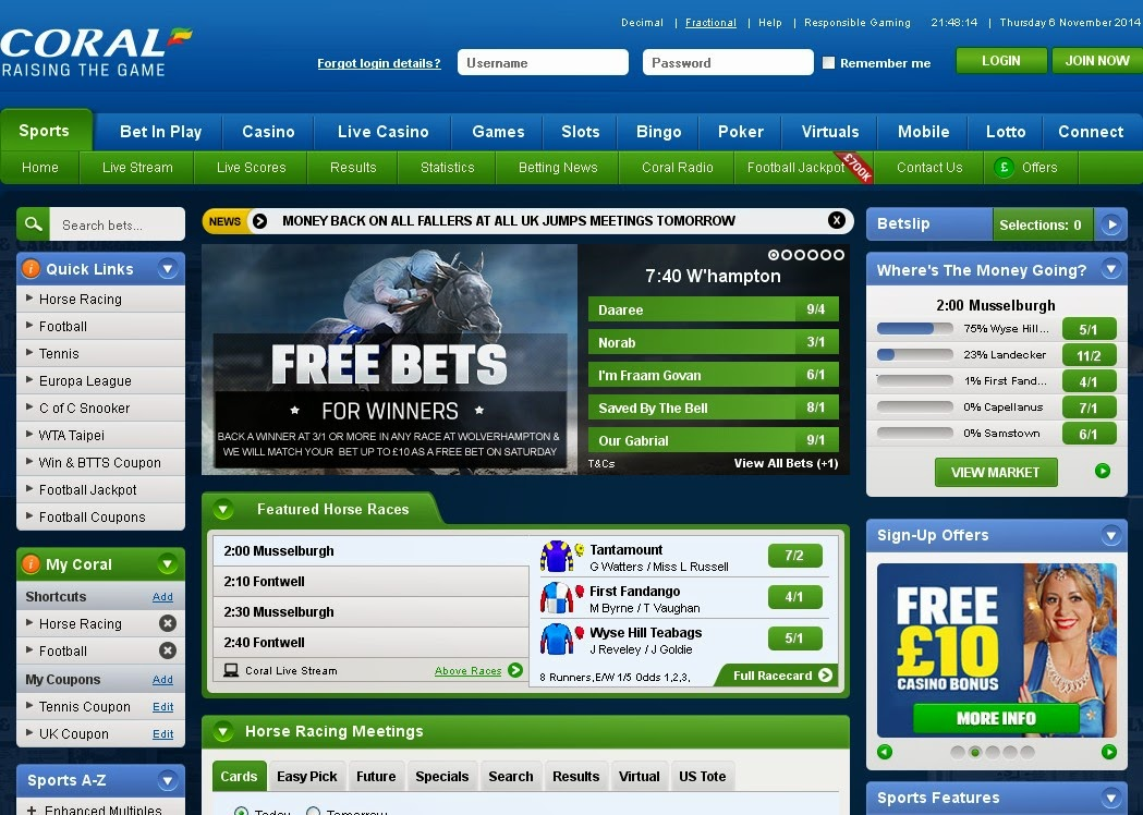 Coral Horse Racing Screen