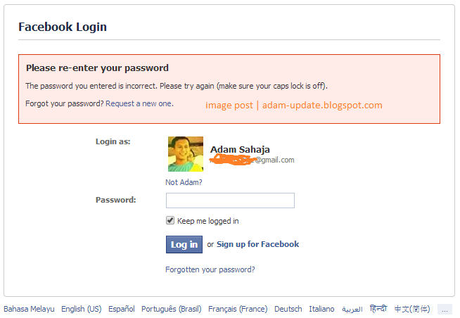 Cara reset password facebook