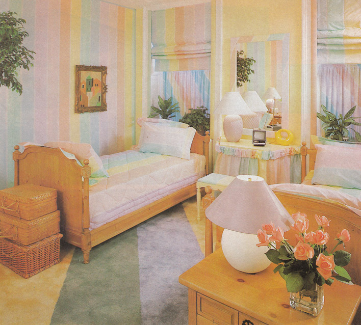 This Bedroom Combines Two Trends Actually   Pastels And Stripes. Ruffles  And Baskets Seem Like They Were Also Really Popular.