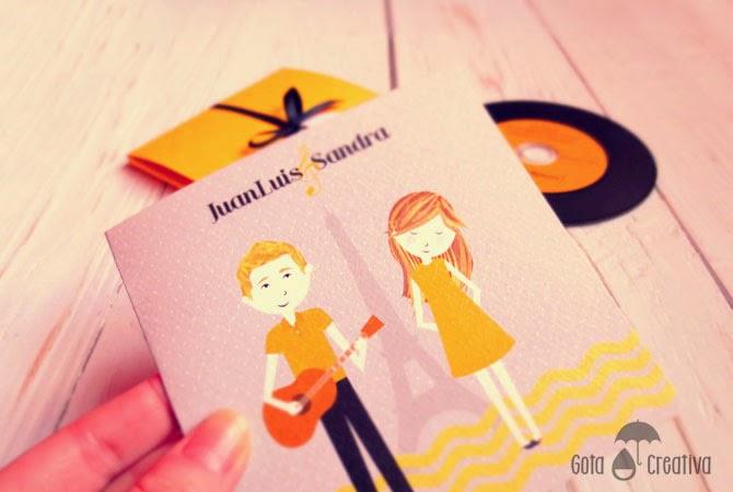 invitaciones vinilo ilustracion Gota Creativa