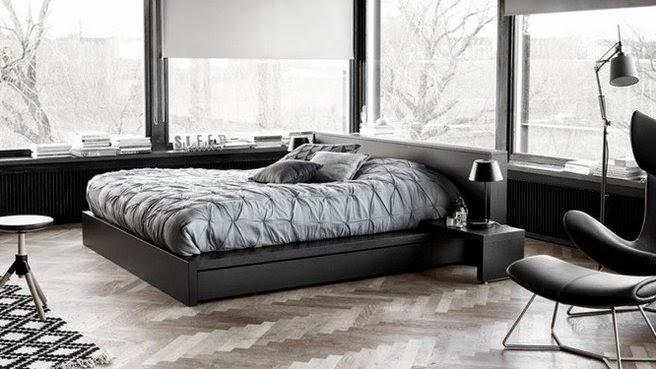 platform bed with hidden storage drawers for mens bedroom