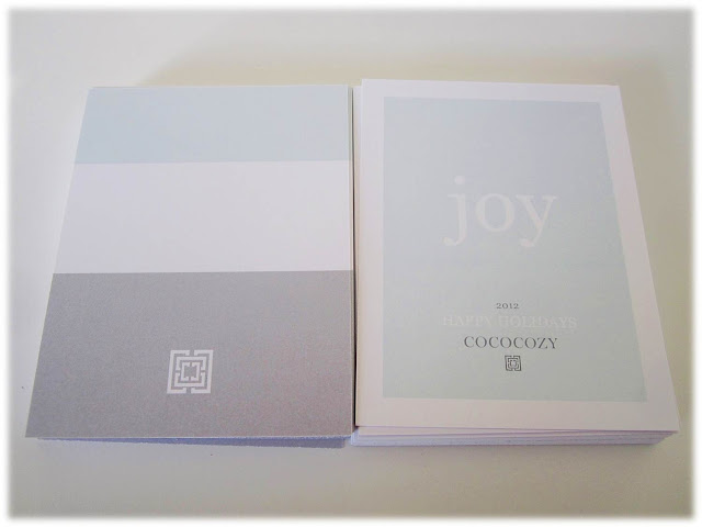 two COCOCOZY holiday cards. One facing forwards the other facing backwards