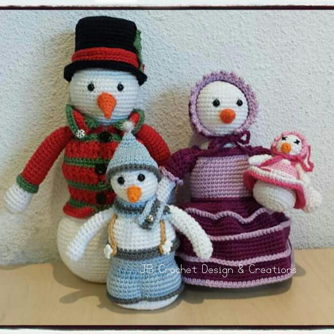 jb crochet design creations sneeuwpoppen familie shiver. Black Bedroom Furniture Sets. Home Design Ideas