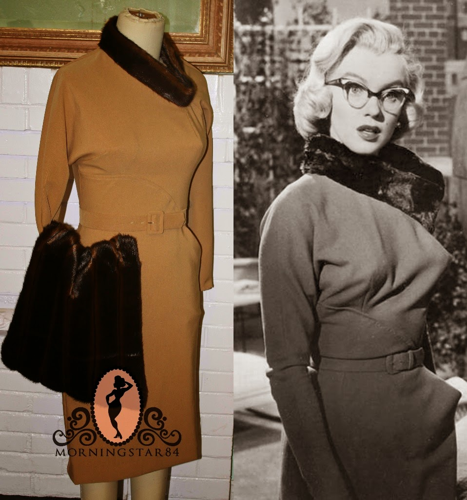 Marilyn Monroe How To Marry A Millionaire Tan Wiggle Dress With Fur
