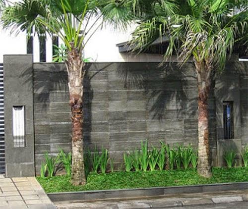 contoh desain pagar rumah minimalis dari batu alam