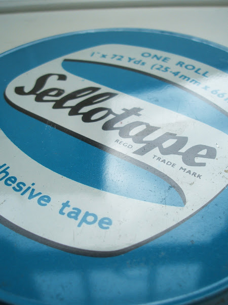 Vintage Love: mid century enamel Sellotape tin 1950s blue, Borehamwood, enamel, packaging, sellotape, tin, typography, vintage