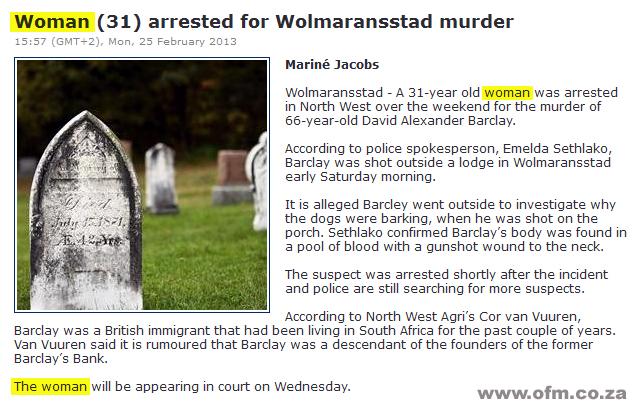 Wolmaransstad Murder