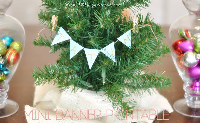 Mini Glitter Banner with kids names! Darling for little individual Christmas Trees! Featured on Design Dazzle