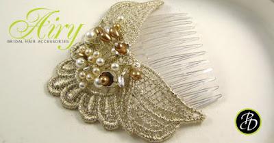 Ślubny grzebień do włosów z perłami, kolekcja AIRY.