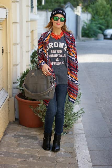 bad hair day beanie, Givenchy nightingale, aztec coatigan, biker boots, Fashion and Cookies, fashion blogger