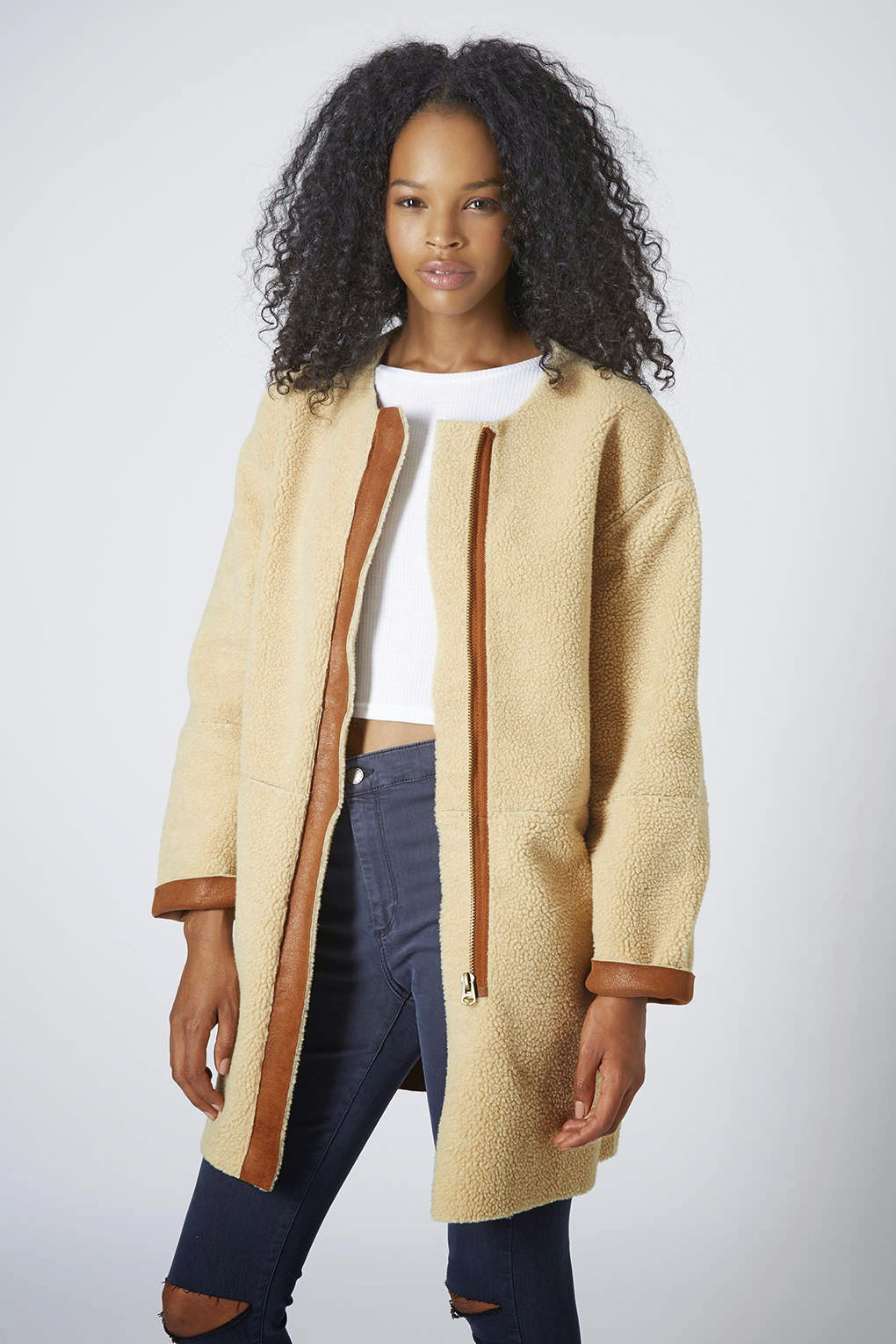 topshop shearling coat
