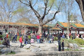 People in Changpuhe Park in Beijing