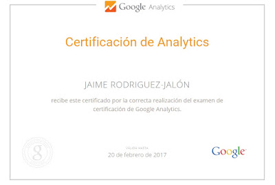 Certificado Google Analytic Jaime Rodriguez-Jalón