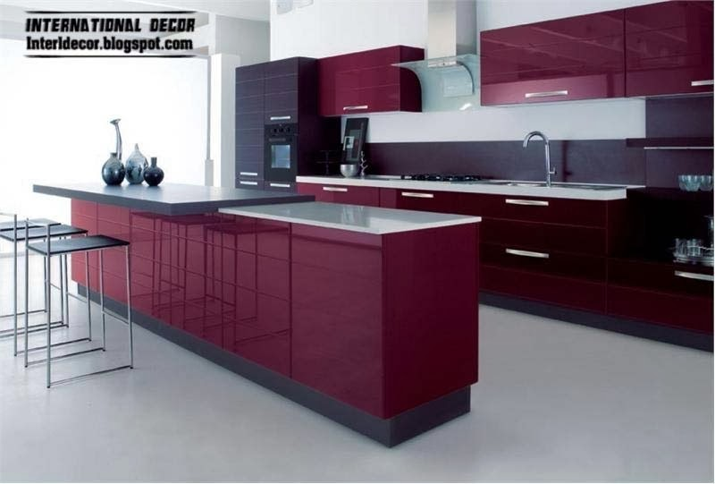 Purple kitchen interior design and contemporary kitchen Modern kitchen design trends 2014