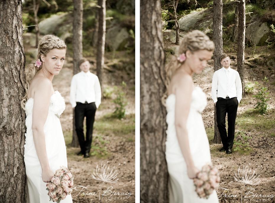 Bryllupsbilder av brud og brudgom. Fotograf Trine Bjervig, Tønsberg