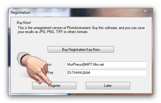 photoinstrument register key