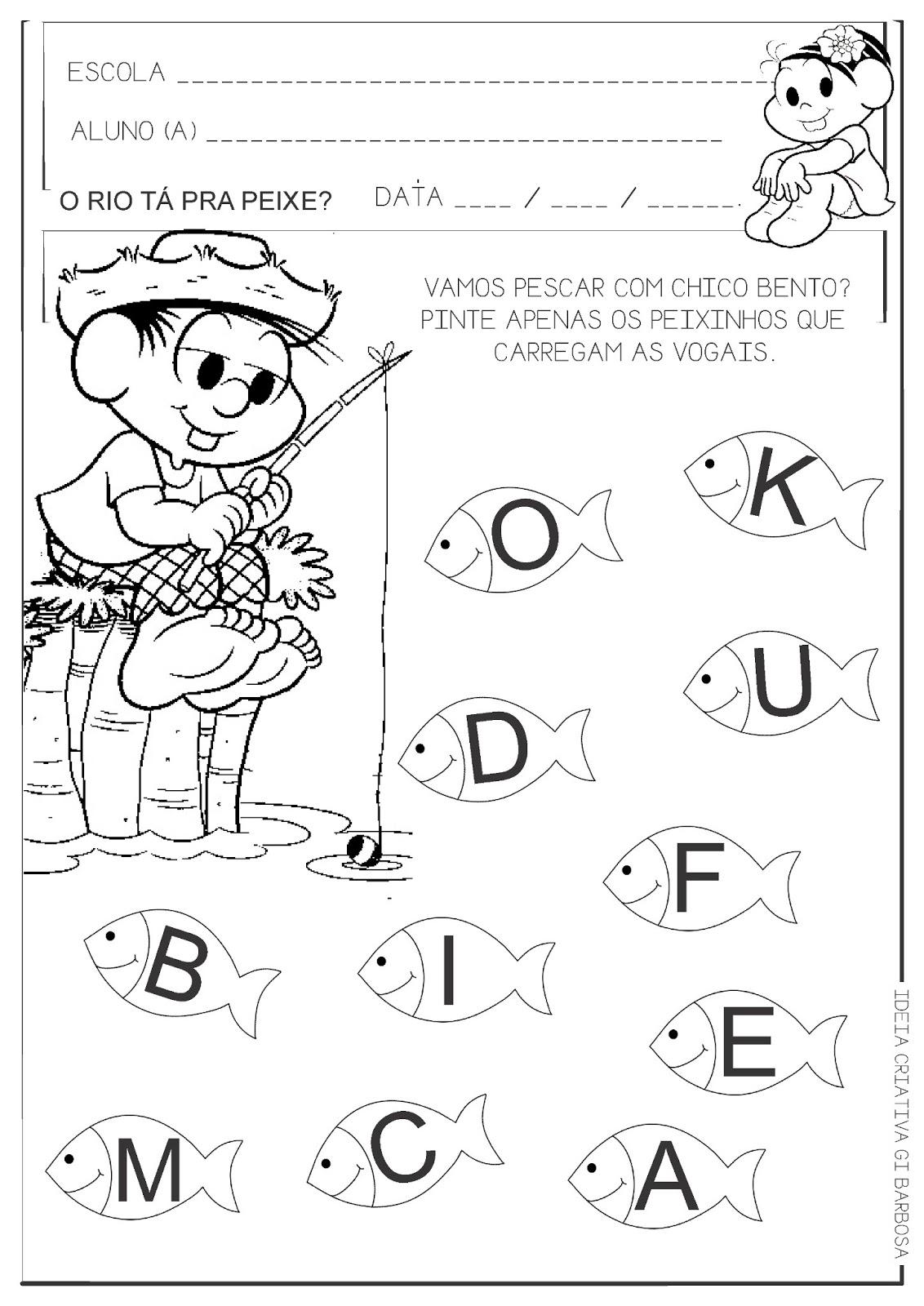 Muito Atividade Educação Infantil Vogais Chico Bento | Ideia Criativa  AZ29