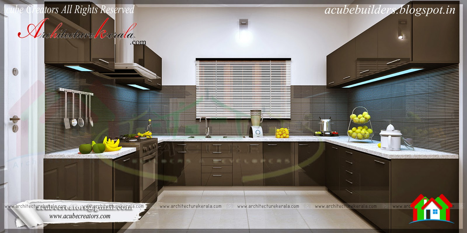 Modern kitchen interior architecture kerala for Interior design images kitchen