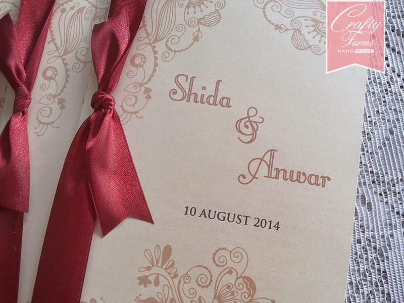 Kad Kahwin Melayu, simple cream and maroon wedding card