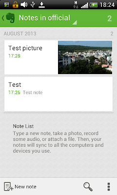 Evernote: Showing notes from notebook