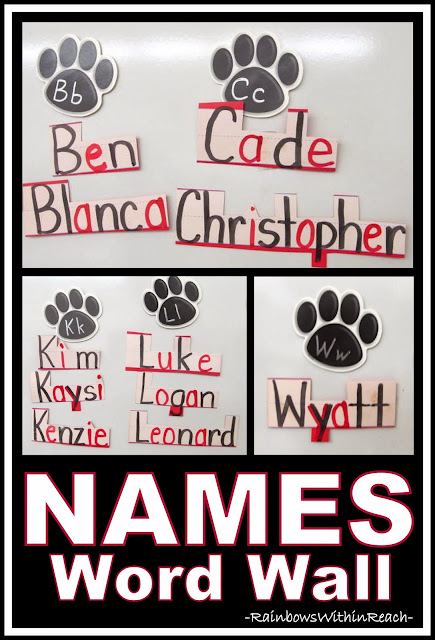 Student Names on Word Wall in Kindergarten