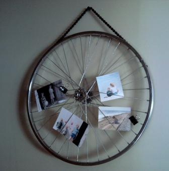 A clunk upstairs art from a pawn shop bike for Bicycle wheel wall art
