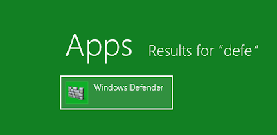 Windows 8 - search for Defender