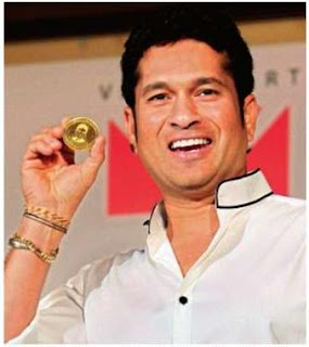 Master blaster Tendulkar during the launch of a limited edition gold coin