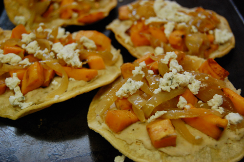 chalupas with white beans and sweet potatoes