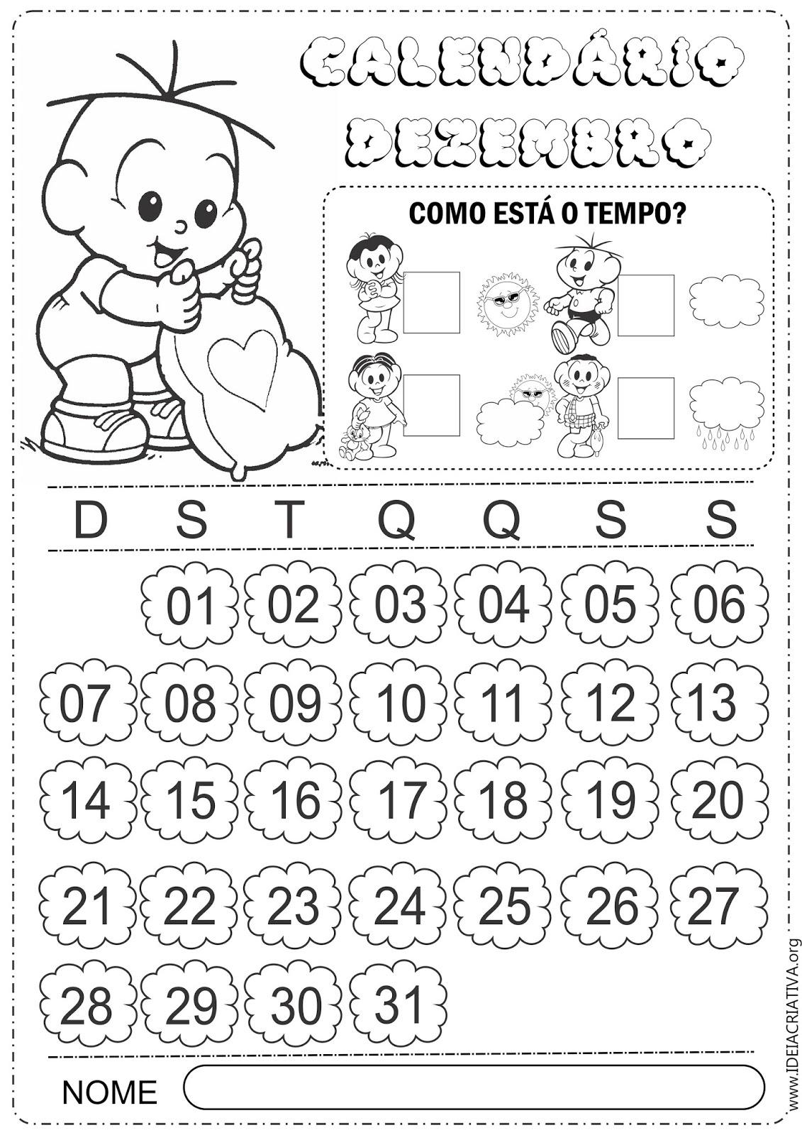 Calendários Dezembro para Imprimir Turma da Mônica Baby 2014