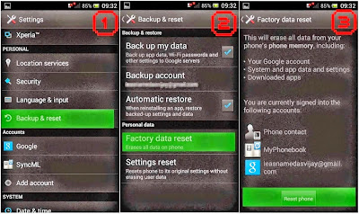 Hard Reset Sony Xperia miro using menu
