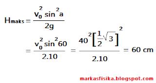 Kali ini markas fisika akan membagikan pembahasan soal tentang gerak untuk SMA, ada pun pembahasan soal nya seperti berikut, semoga bermanfaat..H maksimum = v0 ^2 sin ^ 2 a / 2 di kali g = vo ^2 sin^2 60 / 2 di kali 10 = 40 ^ 2 1 /2 akar 3 ^2 / 2 di kali 10 = 60 cm