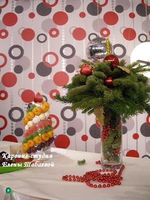 фруктовая новогодняя композиция мастер-класс