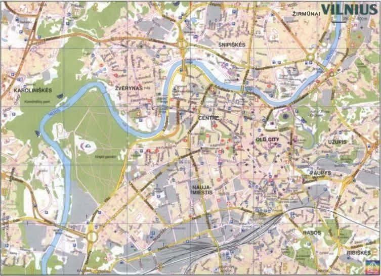 Of Vilnius Lithuania - Vilnius map