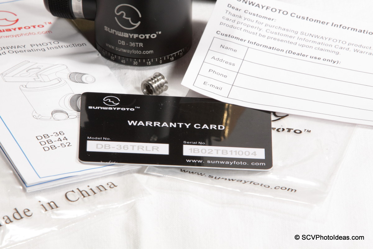 Sunwayfoto DB-36TRLR warranty card