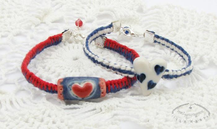 Makramowe bransoletki z lnu i porcelanowych koralików