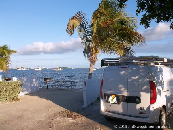 kennel parked by ocean under palms, sailboats in distance, boyd's campground, key west, florida