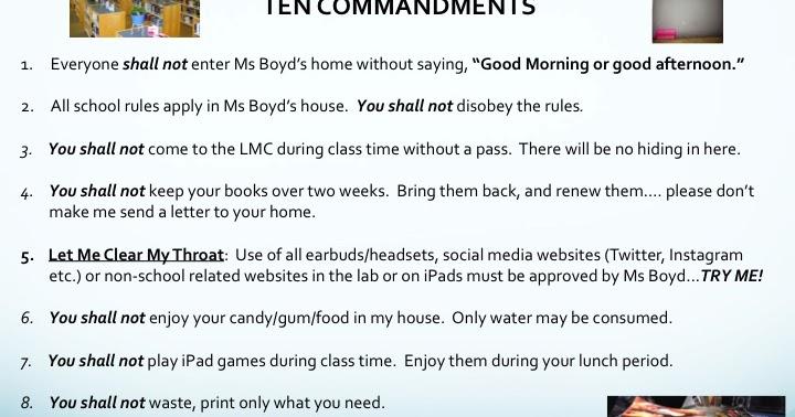 LMC Signage: Ms Boyd's Ten Commandments