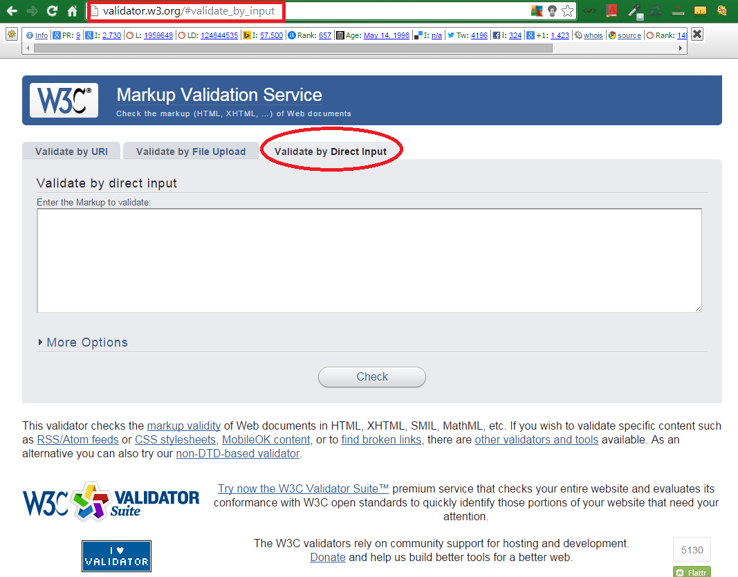 W3C Free Tool for HTML5 Markup Validation 2